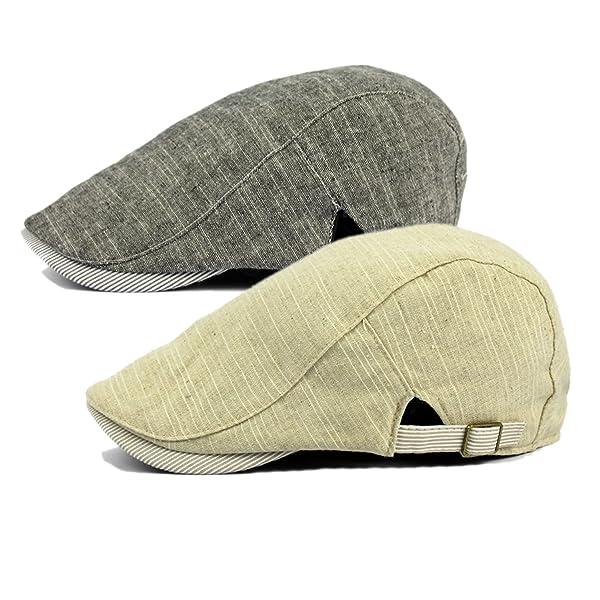 Qossi 2 Pack Men s Cotton Flat Cap Ivy Gatsby Newsboy Hunting Driving Hat 1e777b374d3a
