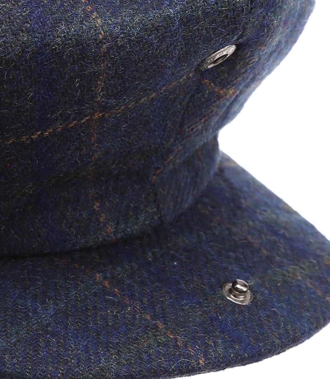 Men's Premium 100% Wool 8Panels Plaid Herringbone Newsboy Hat With MIRMARU Socks. 5