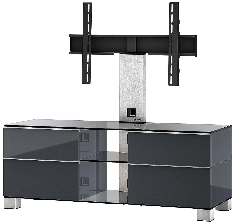 Sonorous MD 8340-C-INX-GRP Fernseher-Möbel mit Klarglas (Aluminium Inox, Korpus Hochglanzdekor) graphit