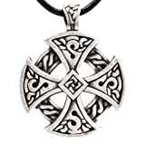 Pewter Solar Cross Celtic Irish Druid Pendant on Leather Necklace
