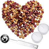 230 Pieces Octagon Sealing Wax Beads Sticks with 2 Pieces Tea Candles and 1 Piece Wax Melting Spoon for Wax Stamp Sealing (Gold and Wine Red) (Color: Gold and Wine Red)