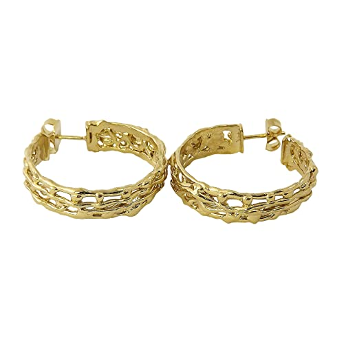 "V.M. Preziosi Firenze - Earrings ""Tape"", Gold Plated Brass with Cubik Zirconia"