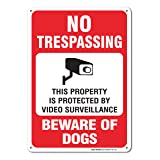 No Trespassing This Property is Protected by Video Surveillance Beware of Dogs Sign, Large 10 X 14 Aluminum, For Indoor or Outdoor Use - By SIGO SIGNS