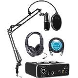 Audio Technica AT2020 Condenser Microphone Bundle with Behringer U-PHORIA UM2 Audio Interface, Samson SR350 Headphones, Blucoil Boom Arm Plus Pop Filter, and 10-FT Balanced XLR Cable