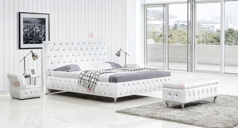 Designer Bett 140x200 cm Weiß mit Kristallen