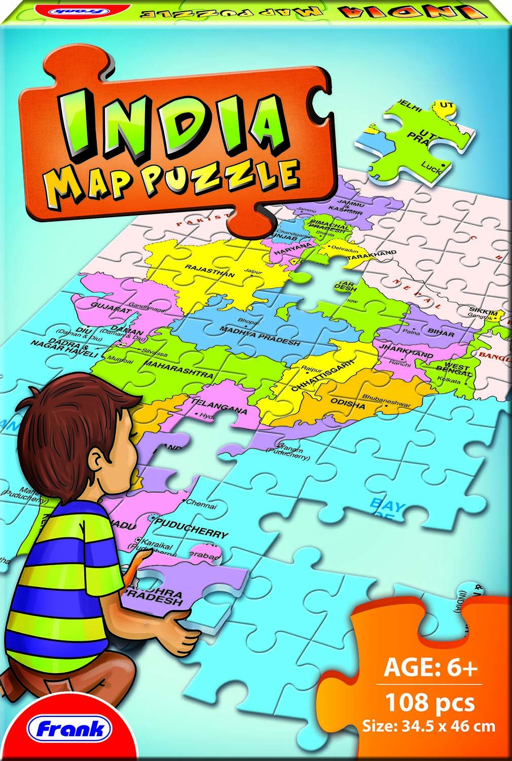 Frank India Map Puzzle Multi Color