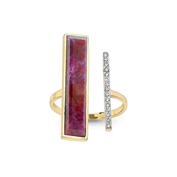 Jade Jagger Never Ending Ruby and Diamond Pave 14ct Gold Asymetrical Ring