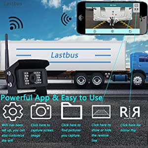 Wireless Backup Camera, Lastbus Night Vision Wide View Angle Waterproof WiFi Rear View Camera for iPhone iPad Android Phone Tablet (Color: WiFi-Cam, Tamaño: Large)