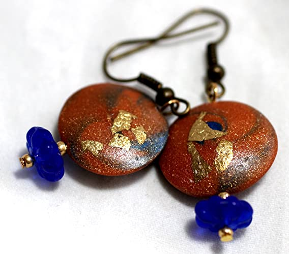 Taos Inspired Gold and Blue Earrings