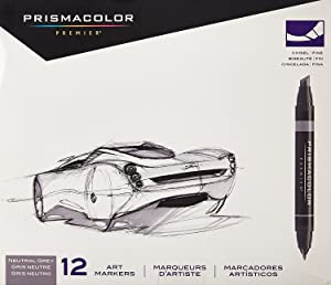 Prismacolor Marker Sets neutral grey set set of 12 (Color: Neutral Gray, Tamaño: Set of 12)