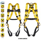 3 D-Ring Industrial Fall Protection Safety Harness ANSI Certified Full Body Personal Protection Equipment 5-Point Adjustment Universal 310 lbs