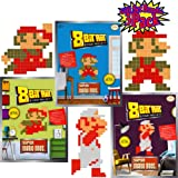 8-Bit Art Sticky Note Art Kit Nintendo Super Mario Bros. Small Mario Jumping, Standing & Fire Gift Set Bundle - 3 Pack (Color: Red, White, Blue, Green, Brown, Beige)