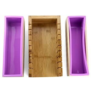 2 PCS Silicone soap molds -1 PCS Soap Cutting Tool Set Wooden Bamboo