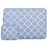 MOSISO Laptop Sleeve Bag Compatible 13-13.3 Inch MacBook Pro, MacBook Air, Notebook with Small Case, Quatrefoil Style Canvas Fabric Protective Carrying Cover, Serenity Blue (Color: Serenity Blue, Tamaño: 13-13.3 Inch)