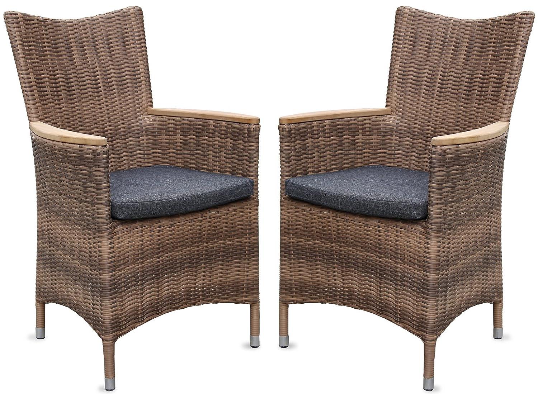 2x Hochwertiger Polyrattan Gartenstuhl mit Teakarmlehnen Teak Sessel Rattan Stuhl Gartenstühle Gartenmöbel jetzt kaufen