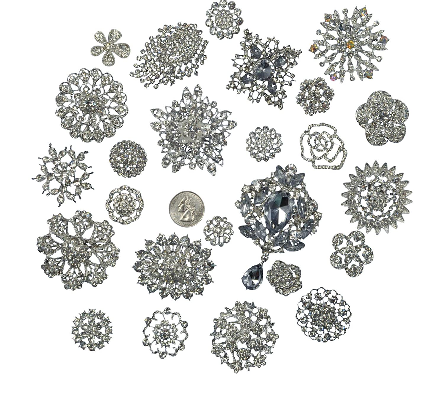 Lot 25pc brooch button bouquet kit