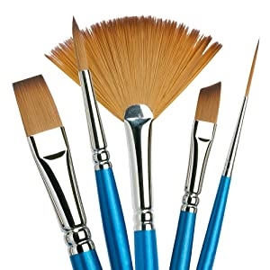 Winsor & Newton Cotman Water Colour Series 668 Short Handle Synthetic Brush - Filbert 1/2 (Color: Blue, Tamaño: 1/2)