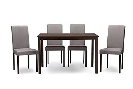 Baxton Studio 5 Piece Andrew Contemporary Espresso Wood and Grey Fabric Dining Set