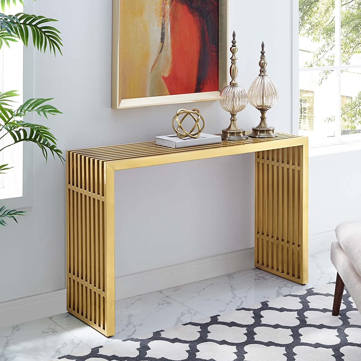 Modway EEI-3036-GLD Gridiron, Console Table, Gold