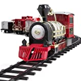 FAO Schwarz Classic Motorized Train Set, 34-Piece Complete Toy Set with Engine, Cargo, 20 Feet Of Modular Tracks, For Children, 4 Unique Train Cars LED Light-Up, Realistic Sound Effects, Amazing Gift (Color: Red/Black, Tamaño: 34 Piece)