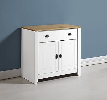 Home Essentials Ludlow credenza in bianco/rovere