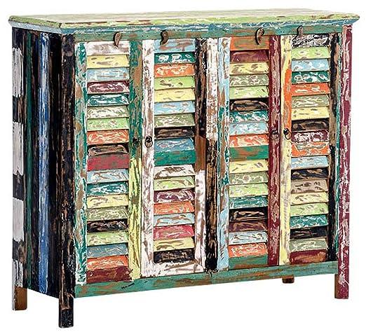 Commode en teck multicolore - 93 x 125 x 40 cm -PEGANE-