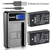 Kastar Battery (X2) & LCD Slim USB Charger for Nikon EN-EL20, ENEL20, EN-EL20a and Nikon Coolpix A, Nikon 1 AW1, 1 J1, 1 J2, 1 J3, 1 S1, 1 V3, and Blackmagic Pocket Cinema Cameras (Tamaño: 1 LCD charger + 2 batteries)
