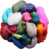 Assorted Merino Roving Ends & Mixed Fiber Waste - Bulk Top Fiber for Felting, Spinning & Blending (Color: Multi)