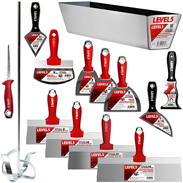 Deluxe Drywall Hand Tool Set, Stainless Steel - LEVEL5   Pro-Grade   Taping Finishing Tool Blades, Knives, Pan, Mixer, Saw   Sheetrock Gyprock Plasterboard  5-609 (Color: Red)