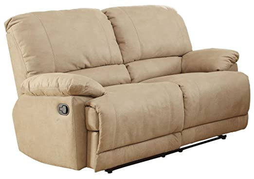 Homelegance Elsie Doble Glider Reclining Loveseat In Camel Polyester