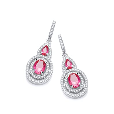 Micro Pave Red & White cubic zirconia cz Drop Earrings