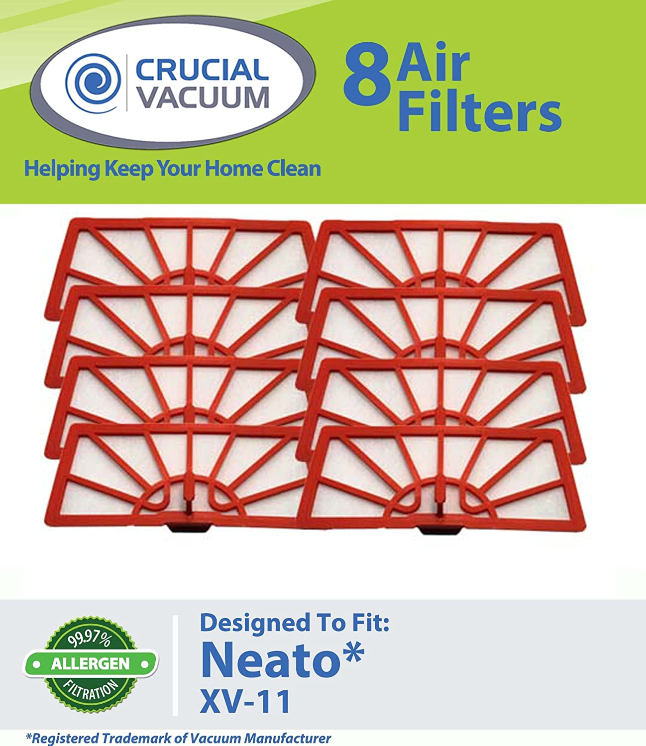 Crucial Vacuum 8 Neato XV-11 Air Filters Fits Neato XV-11 XV11 All Floor Robotic Vacuum Cleaner System; Compare to Neato Filter Part # 945-0004 at Sears.com