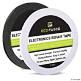 Eco-Fused Adhesive Sticker Tape for Use in Cell Phone Repair - 2 Rolls of Double Sided 2mm Tape - Plus 1 Eco-Fused Microfiber Cleaning Cloth (black and white) (Tamaño: 2 Rolls - 2mm width (Black and White))