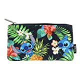 Loungefly Disney Lilo & Stitch Stitch Hawaiian Print School Pencil Case (Color: Black, Green, Blue, Tamaño: One Size)
