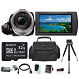 Sony HDR-CX455 Handycam Full HD 1080p Camcorder w/ 32GB Micro SD Card & Accessory Bundle (Color: Clear)