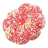NEOVIVA Pincushions for Sewing with Wristband, Cute Wrist Pin Cushion for Daily Needlework, Style Pumpkin, Pack of 2, Floral Mandarin Red Blossom (Color: Floral Mandarin Red Blossom)