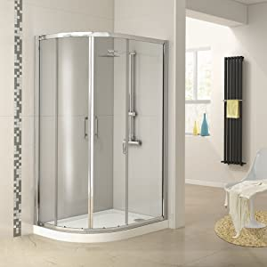 1000 x 800 mm Left Hand Offset Quadrant Glass Shower Enclosure + Plinth Tray Set  iBath       Customer reviews and more information