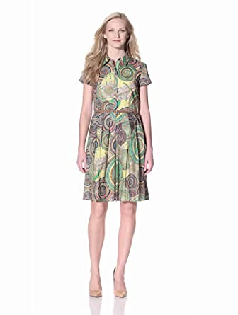 Ellen Tracy Women's Printed Shirt Dress with Belt, Orange Multi, 4