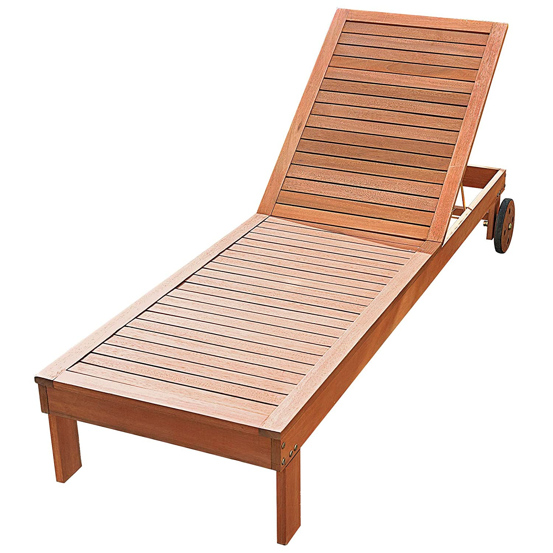 Sonnenliege mit Rollen 5-fach verstellbare Rückenlehne Eukalyptusholz ca. 200 x 70 x 30 cm braun günstig kaufen