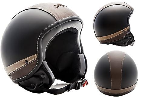SOXON SP-301 Urban black - Cuir casque JET Vespa moto Cruiser Pilot noir - Taille: XS S M L XL