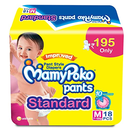 Mamy Poko Pants Standard Medium Size Diapers (18 Count)