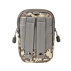 LingAo Tactical Molle Pouch EDC Utility Gadget Belt Waist Bag, Camping Hiking Outdoor Gear Cell Phone Holster Holder for iPhone 6/6S (ACU Camouflage)