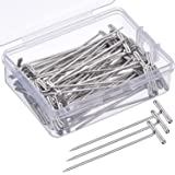 Mudder 70 Pack Wig T-Pins 2 Inch with Plastic Box, Silver (Color: Silver)