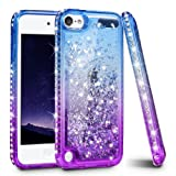 iPod Touch 7 Case, iPod Touch 5 6 Case, Ruky Quicksand Series Glitter Flowing Liquid Floating Bling Diamond Flexible TPU Girls Women Cute Case for iPod Touch 5th 6th 7th Generation Case (Blue Purple) (Color: Blue)