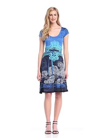 Desigual Damen Kleid VEST_PARIS, 34 (Herstellergröße: DE XS / FR S), Blau (Azafata)