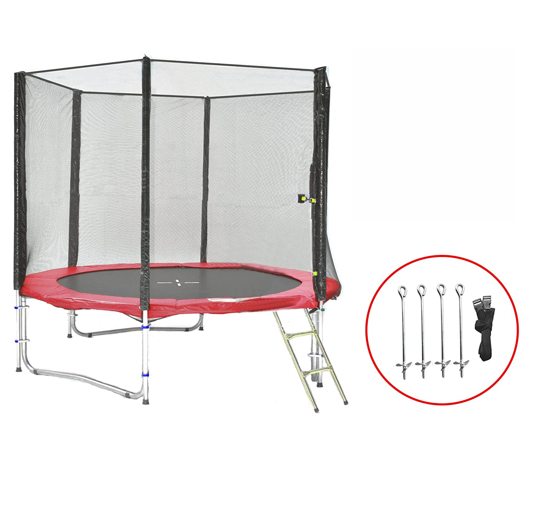 SB-245-RA Gartentrampolin 245cm incl. Netz, Leiter & Bodenanker Set , 150kg Traglast günstig online kaufen