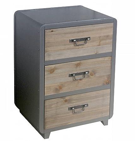 Dresser 3 cajones de madera MDF colonial 53 x 39 x 30 cm Colour gris y marrón mobiliario ocasional