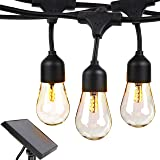 Brightech Ambience Pro Waterproof Solar LED Outdoor String Lights - Hanging 1W Vintage Edison Bulbs - 48 Ft Commercial Grade Patio Lights Create Cafe Ambience On Your Porch, Deck - Soft White (Color: white, Tamaño: 48 Feet)