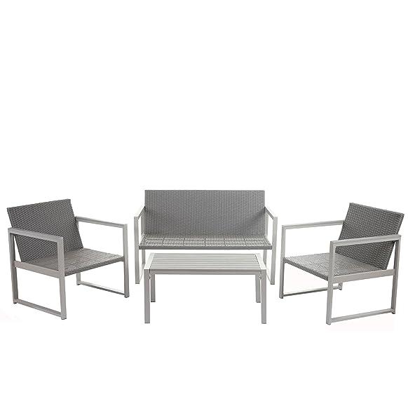 Salottino set da giardino Spalato 2-1-1 alluminio polyrattan grigio