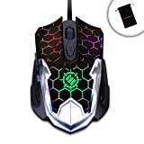ENHANCE GX-M4 2400 DPI Gaming Mouse with 7 Cycling LED Colors , Ergonomic Design & Soft-Touch Finish - Works with & SteelSeries QcK , Belkin , Redragon P001 & more Mouse PadsBonus Accessory Bag